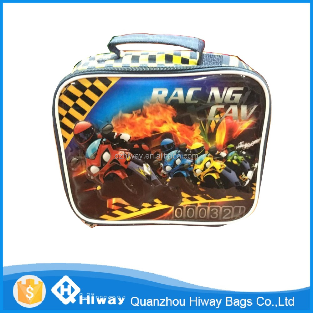 2016 new design motorbike racing thermal kids lunch box bag , lunch handbag, thermal bag for lunch box