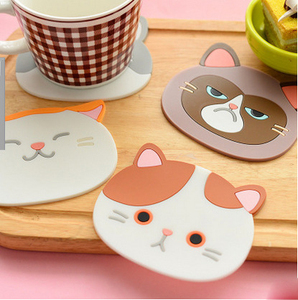2018 hot cute kitchen dining bar table decoration anti slip pads cup mats cartoon cat silicone coaster