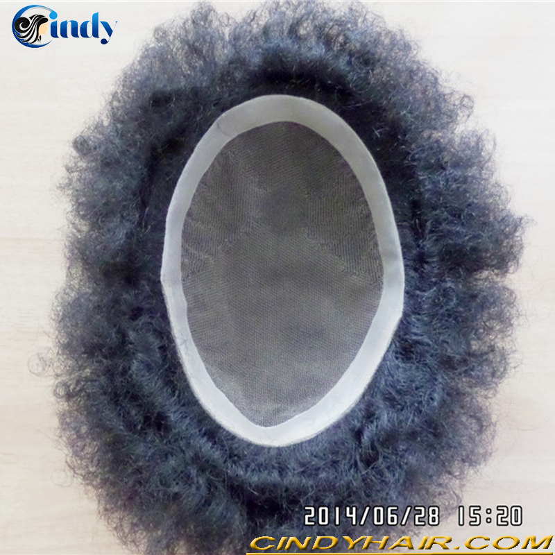 wholesale cheap brazilian human hair natural hairline afro kinky curly men's hairpieces