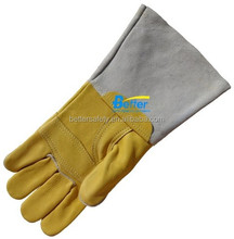 Long Yellow Leather tig welding gloves Cow grain