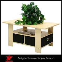 Factory directly Ikea style living room furniture Modern wooden coffee tables with bin drawers