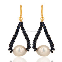 18k Yellow Gold Cultured Pearl & Blue Sapphire Beads Earring, Gold Drop Earring Wholesale & Supplier