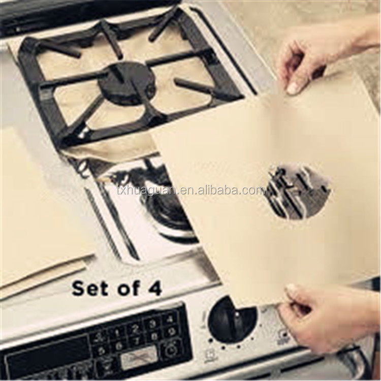 Non-stick Reusable gas hob protector; keep clean on top of stove set of 4pcs, 27*27cm