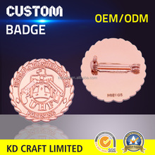 Made in china custom metal copper plating debossed 2d eagle logo badge with deluxe clutch
