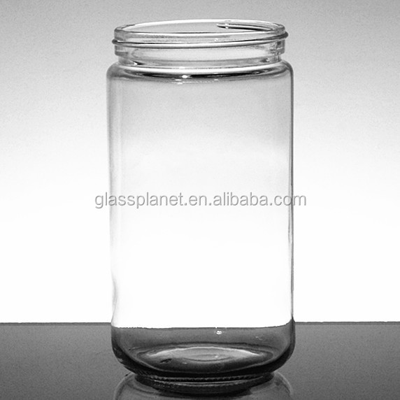 Clear Thick Glass Straight Sided Jar - 11oz / 330ml
