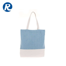 Ruiding 2017 New Products Foldable Customized Two Color Stitching Cotton Canvas Fortable shopping Bags