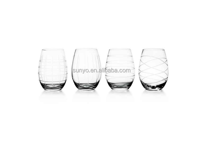 China manufacture lead engraved line stemless egg shaped drinking glass customized