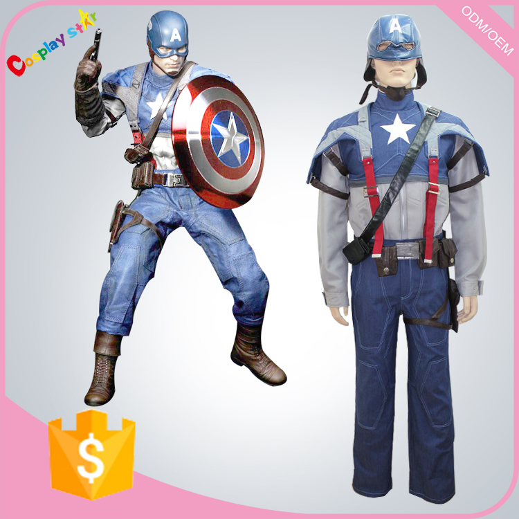 Captain america avengers formal movie character teen cosplay costumes dark blue for free shipping