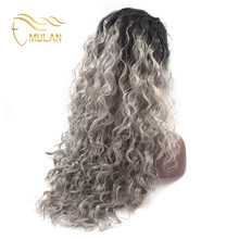 Cosplay party synthetic beauriful silver grey human hair lace wigs