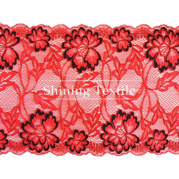 hot selling nylon spandex stretch scalloped edge cotton lace