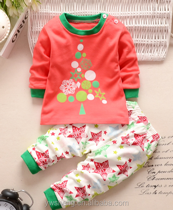 Latest Embroidery Designs Suits 100% Cotton Children Baby Christmas Striped Pajamas