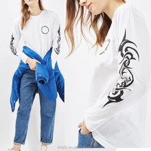 2017 Anly new arrival women garment wholesale custom silk screen printing long sleeve t shirt for girl