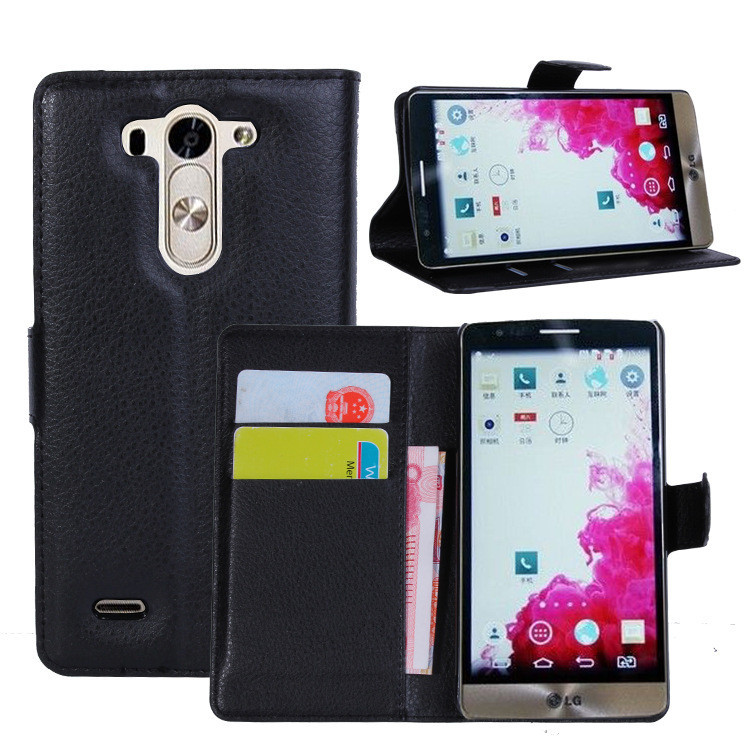 PU Leather flip wallet case cover for lg g3 mini