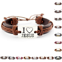 I Love Jesus Christian Crown of Thorns Ring Jesus Cross Ichthys Set Free Retro Charm Adjustable Mens Genuine Leather Bracelets