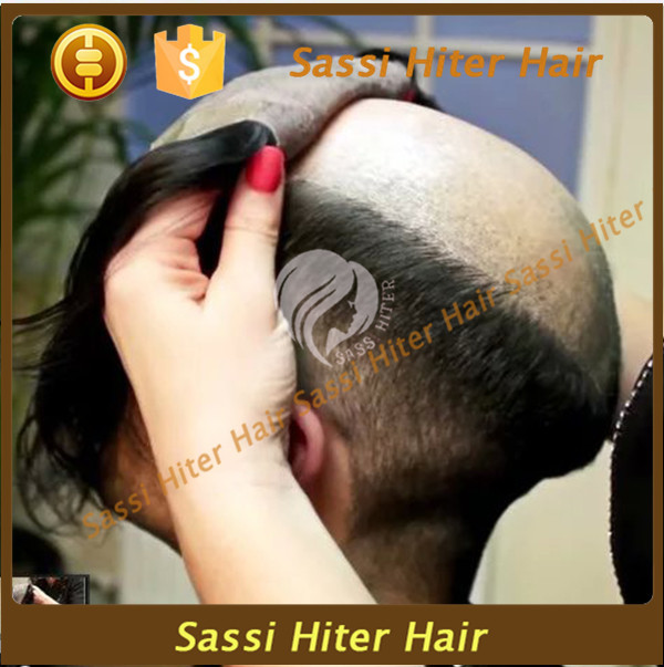 Fashionable mens invisible toupee hair pieces hair replacement system