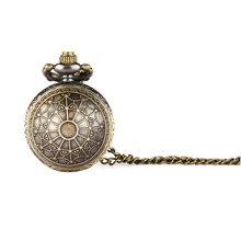 small Bronze Antique Vintage Spider Web Hollow Pendant Necklace Quartz Steampunk Pocket Watch