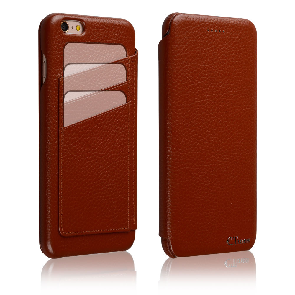 C&T Genuine Leather Wallet Case Curve Edge Flip Style Folio Cover for Apple iPhone 6 4.7 Inch