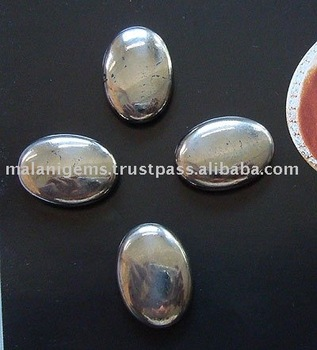 Natural Pyrite Plain Oval Cabochon