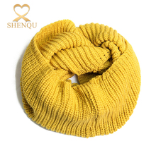 Wholesale girls winter knitted warm multicolor infinite circle loop scarf