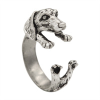 Handmade Dachshund Dog Puppy Animal Rings for Women and Girls Gift Fashion animal ring
