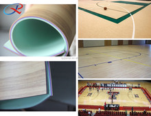 wood grained PVC Vinyl floor in roll waterproof/damp -proof Maple basketball sport surface