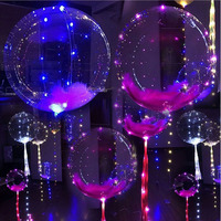 2017 Fashion Wedding Air Balloons 18cm Round Helium BalloonTransparent Bobo Balloons With Led String for Christmas Day