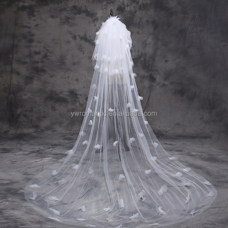 Elegent white butterfly lace organza 3 meters long wedding veil for sale