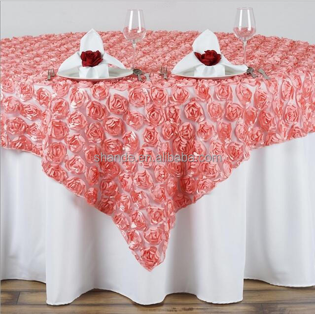 Rosette Satin Tablecloth Ribbon Rose wedding embroidered table overlay