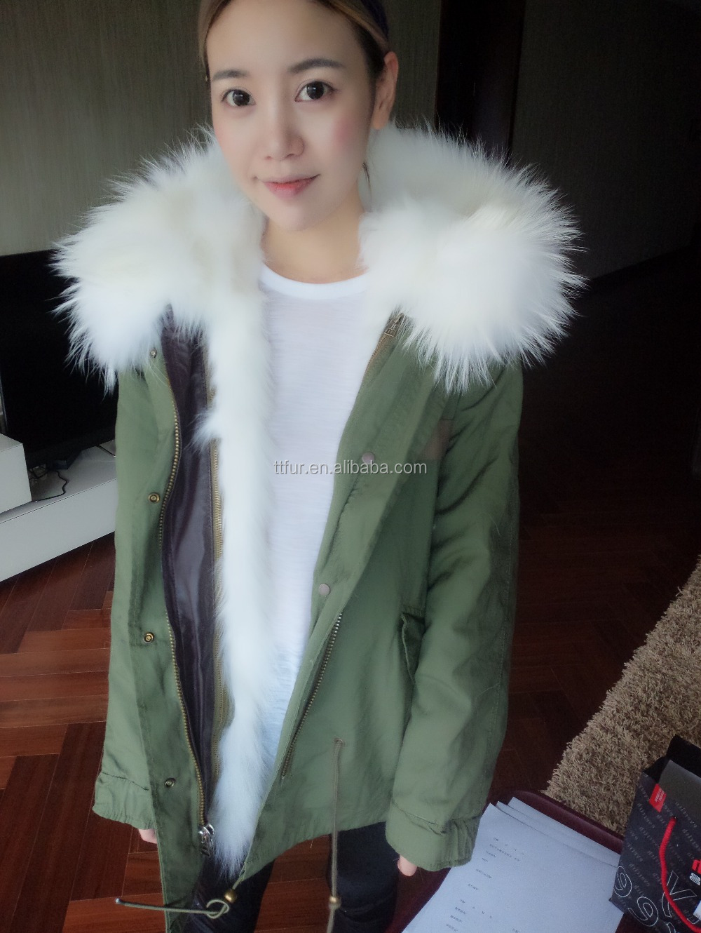 TT-PK-75 WHITE ,white fox belly fur liner with white raccoon fur hood trimming,mini parka