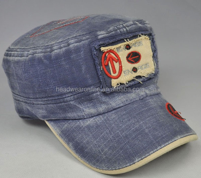 Shabby Denim Army Caps Custom Washed Military Hats With Your Own Design
