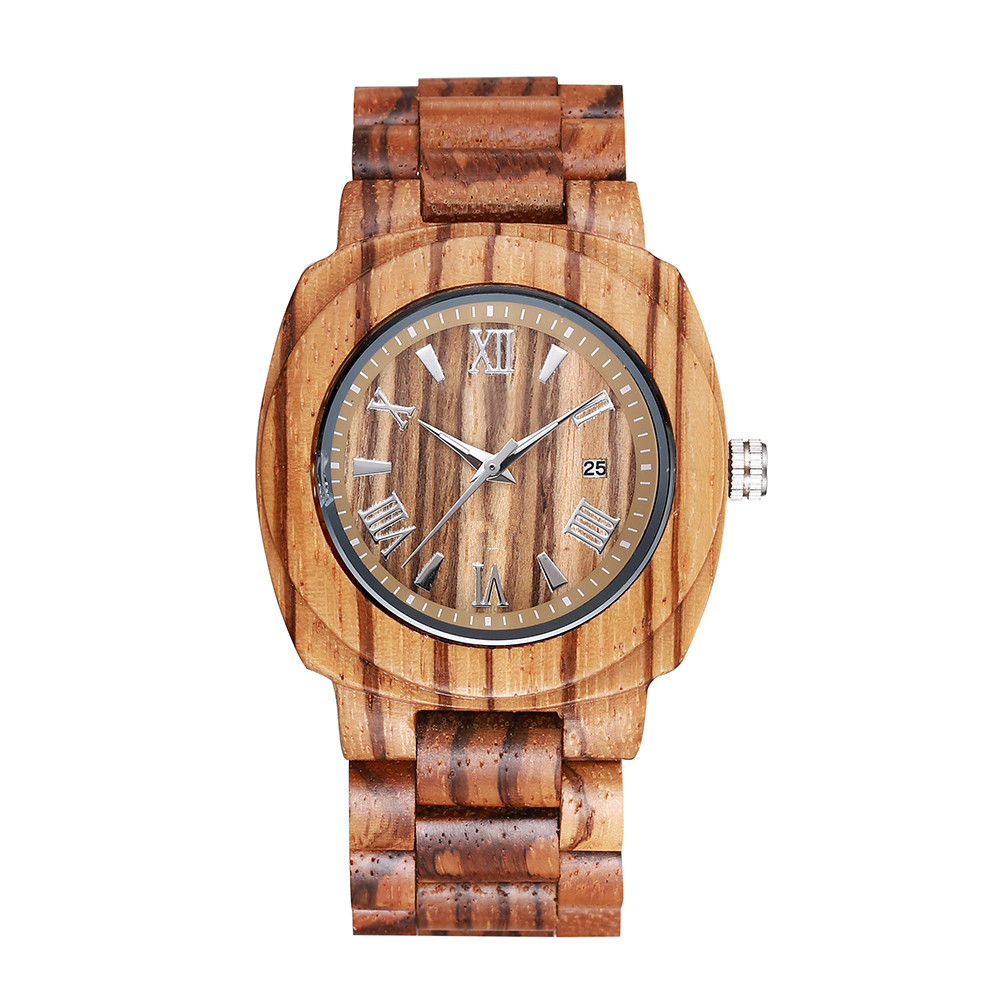 Unique Zebra Wood Watch Men Auto Date Quartz Wooden Men's Watches Luxury Watch Men Wristwatch customize logo
