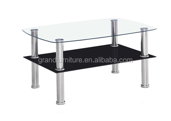 Glass Top Chromed Legs Cheap Coffee Table