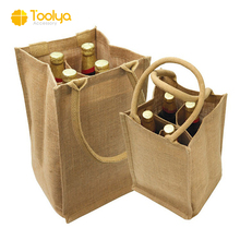 Customized 4 Bottle Wine Carry Bag Eco-friendly Tote Jute wine bottle bag