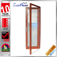 Australia AS2047 standard wood color double glass aluminum french doors with grill inside