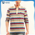 hot sale high quality turn-down collar long sleeve mens stripe polo shirt