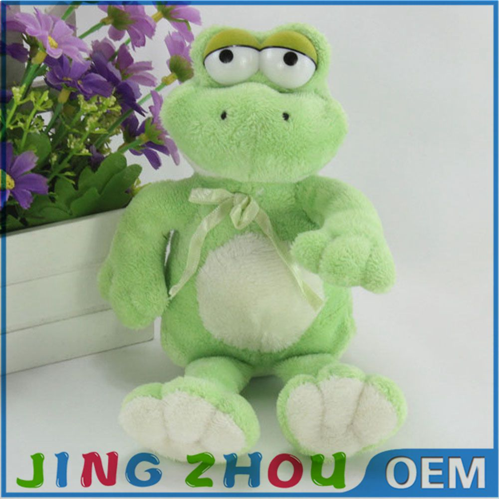 Custom realistic plush green animal stuffed frog toy for girls
