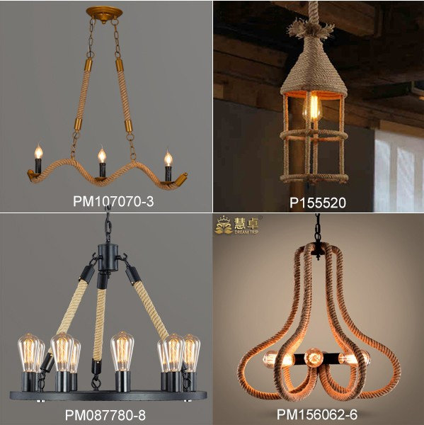 country style hemp rope black pendant lighting fixtures in china