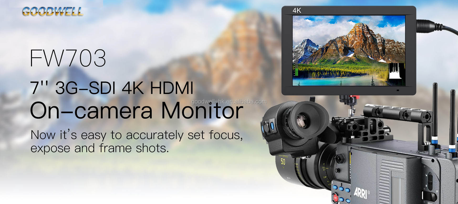 "4K HDMI 7"" 3G SDI Broadcast Professional LCD Monitor 1920x 1200 IPS Panel with 450cd/m2 High Brightness"