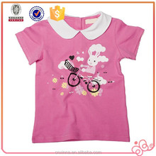 2015 pink round lovely kids tshirts for girl