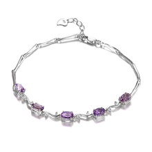 JewelryPalace Natural stone Bracelet Genuine Amethyst Real 925 Sterling Silver Jewelry Purple Bracelet for Friend