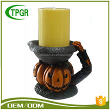 Oem Wholesale Garden Resin Crafts Polyresin Pumpkin Shaped Led Light Halloween Candle Lantern Light