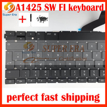 SD SW FI keyboard without backlight backlit for macbook pro 13'' retina A1425 Swedish Finnish Sweden Finland keyboard 2012 2013