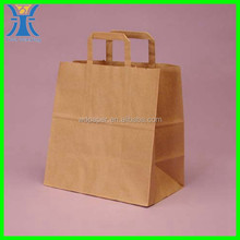 Yiwu New Arrived brown strong flat handle handmade Cheap grocery kraft paper bag