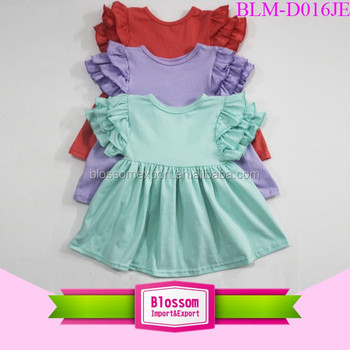 China Supplier smocked cotton dress flutter sleeve fashion frock one piece baby girl pearl ruffle princess custom children dress