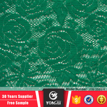 Wholesale cheap price polyester spandex elastic green lace fabric