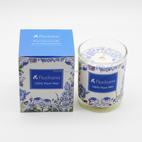 Fashion 100% Plant wax scented candle in glass jar/luxury Scented candle with color paper box