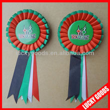 hot sale custom round ribbon rosette badge wholesale