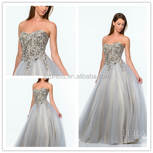 Gray Sweetheart Collar A Line Custom Made Floor Length Long Formal Prom Party Evening Dresses Designs CP027 prom gown in china