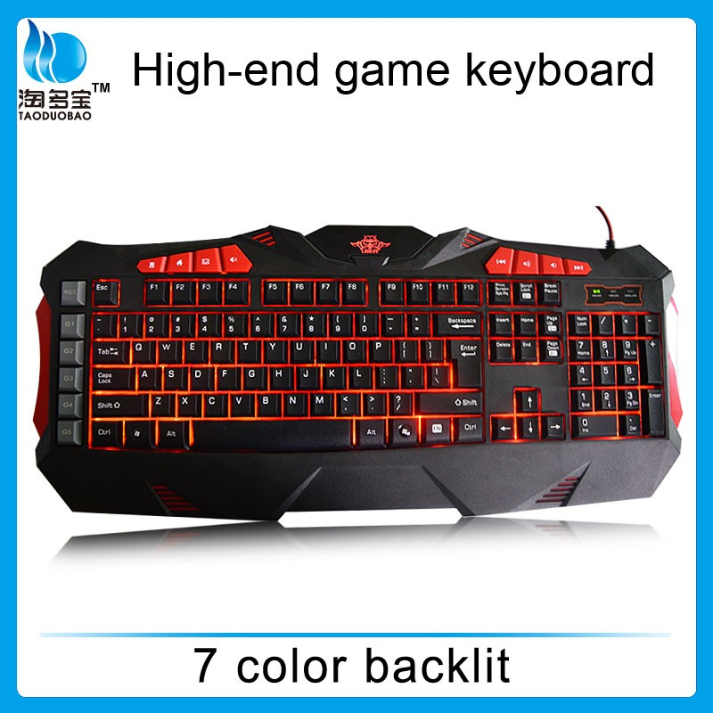 5 Custom macro keys 7 color backlit ergonomics keyboard for gamer