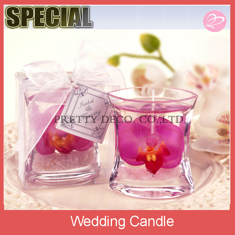 Elegant orchid gel wedding candle